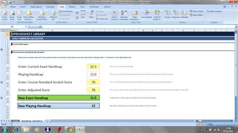 Golf Handicap Spreadsheet by Spreadsheet Library Golf Handicap Calculator