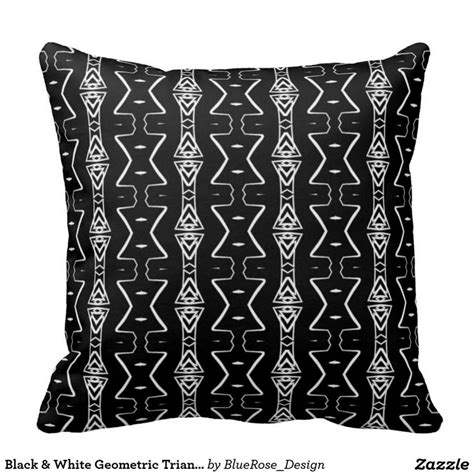 Black And White Geometric Throw Pillows by Black White Geometric Triangles Throw Pillow Side A