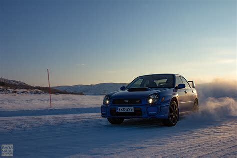 subaru wrx drift drifting on icy roads from norway to lapland