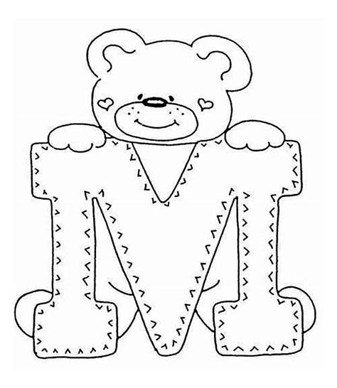 cute letter coloring pages letter m with cute teddy bear coloring page letter m with