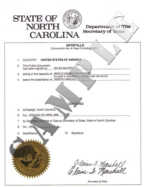 authentications of documents state north carolina