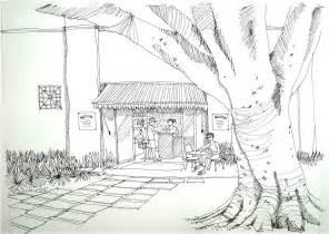 doodle line drawing kiosk line watercolour in progress