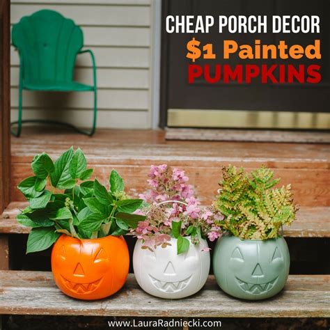 Cheap Decorations Diy by Cheap Diy Fall Porch Decor Painted 1 Plastic Pumpkins