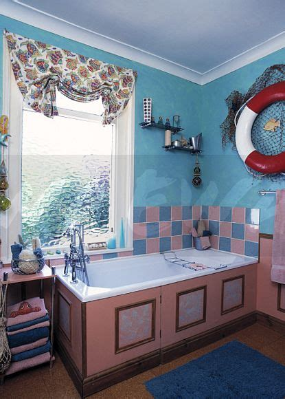 Bathroom Festoon Blinds Image Bright Turquoise Eighties Bathroom With Festoon