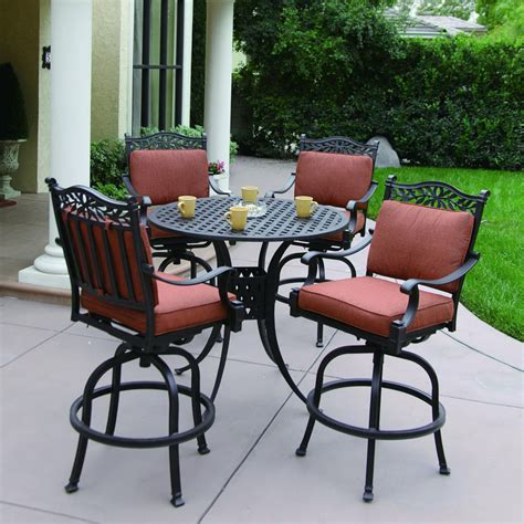 height patio furniture clearance  charleston cushioned cast aluminum patio bar height set at lowescom