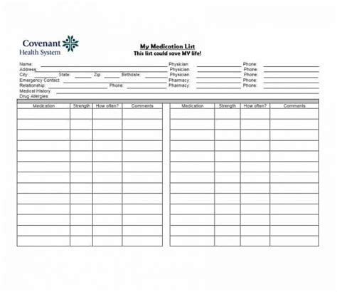medication list card template 58 medication list templates for any patient word excel