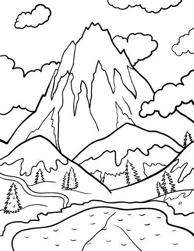 log cabin with mountains coloring pages