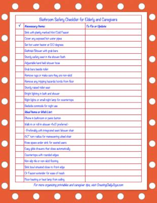 Bathroom Safety Solutions For Seniors And Caregivers Free Printable Checklist Creating Daily Caregiver Daily Checklist Template