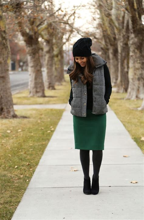 vest pencil skirt tights black ankle boots  tight