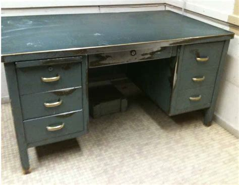 industrial steel brass desk williams design