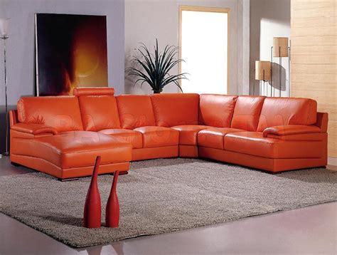 orange sectional sofa orange leather sofa set 410 sofa set sets esf 1 thesofa