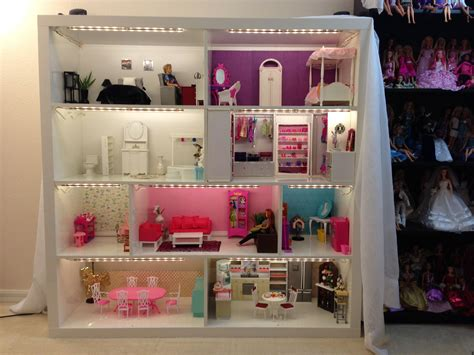 doll house of barbie barbie house from expedit shelves now with lighting also we put on a permanent wood