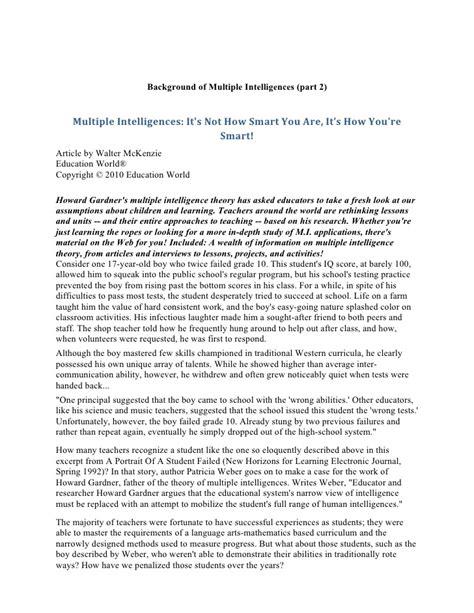 Intelligence Essay by Intelligences Essay Howard Gardner Dissertation Intelligences Essay