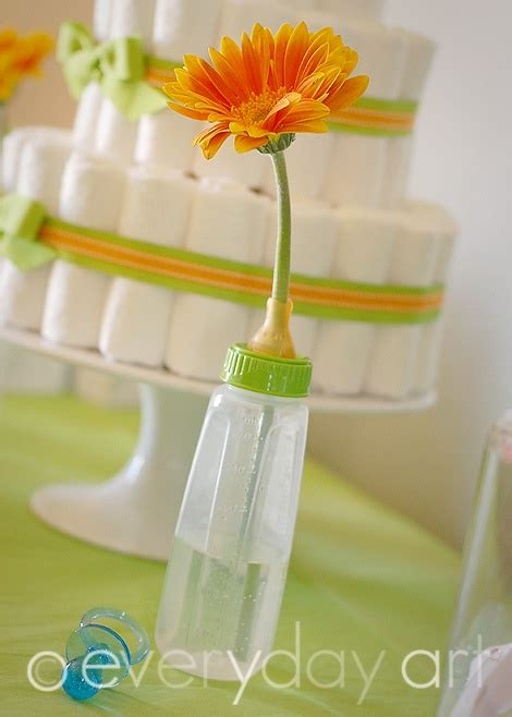baby bottle vase with gerber baby showers