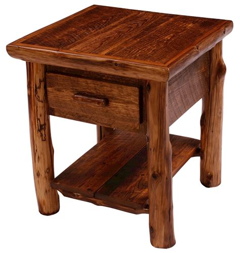 sawmill pine and log nightstand vintage looking furniture