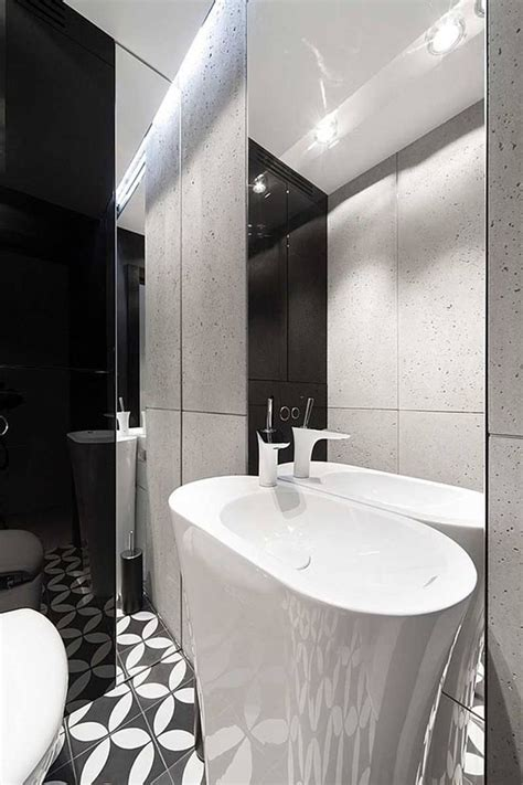 the help bathroom apartment interior design in black and white colors