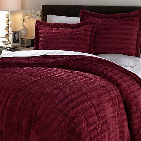 wine comforter concierge collection long faux fur comforter set wine queen