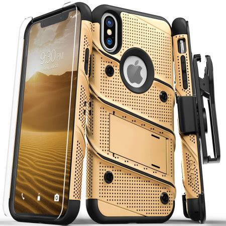 zizo bolt iphone xs max tough screen protector gold black