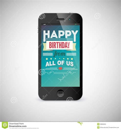 Free Mobile Birthday Cards Birthday Greeting Card On Screen Of Mobile Phone Stock