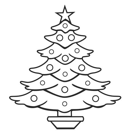 christmas tree coloring pages for kids free printable
