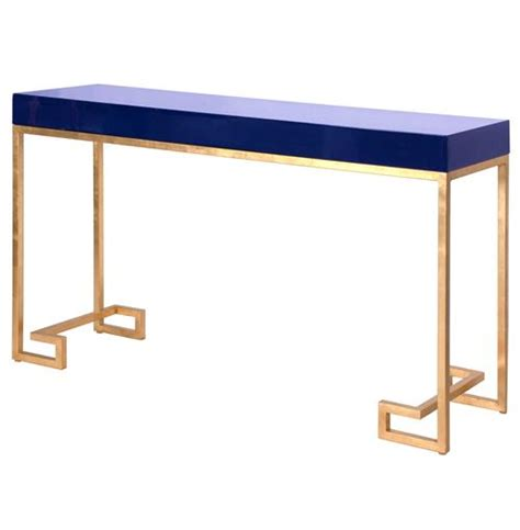 Davinci Hollywood Regency Navy Blue Gold Console Table Blue Sofa Table