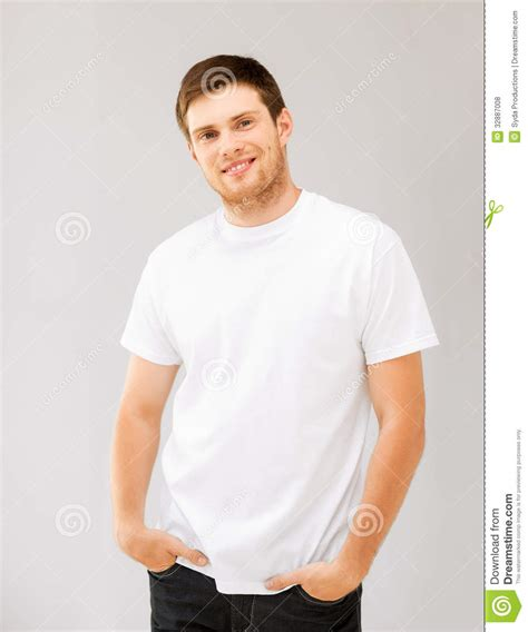 T Shirt Dili White smiling in blank white t shirt royalty free stock photos image 32887008