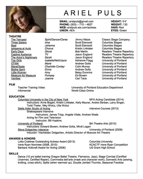 Theatre Acting Sle Resume by Ariel Puls Columbia Actors Graduate Theatre Acting Mfa Class Of 2016