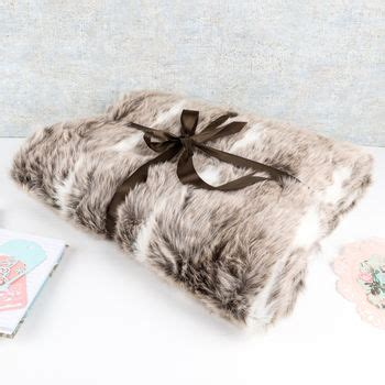 luxurious winter snow lynx faux fur throw by dibor