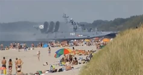 russian beach welcome to russia where giant military hovercrafts land