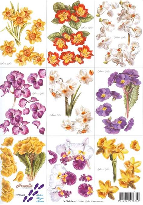 Decoupage Flowers - flower 3d decoupage sheet