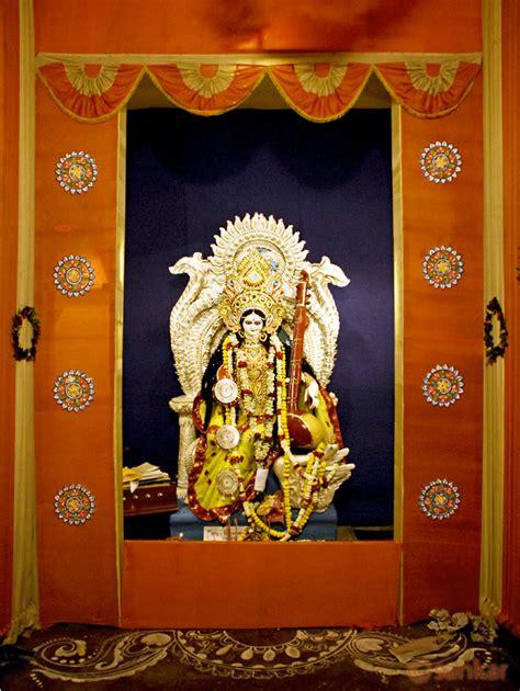 home decoration for puja saraswati puja pandal decoration idea best handmade