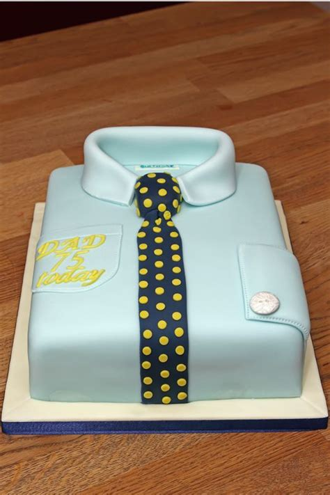 shirt tie cake with fondant tie collar sleeve and button