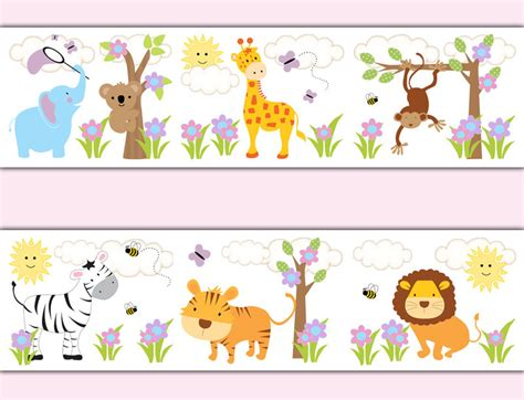 safari jungle animal wallpaper border wall decals baby nursery stickers ebay
