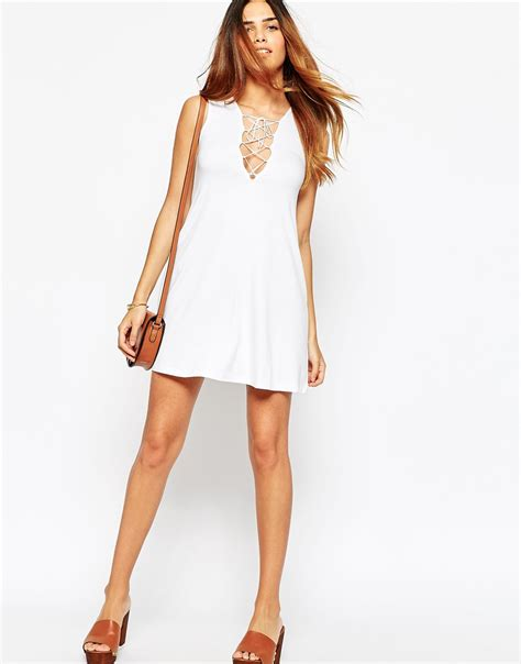 asos petite swing dress asos petite sleeveless swing dress with tie front in white