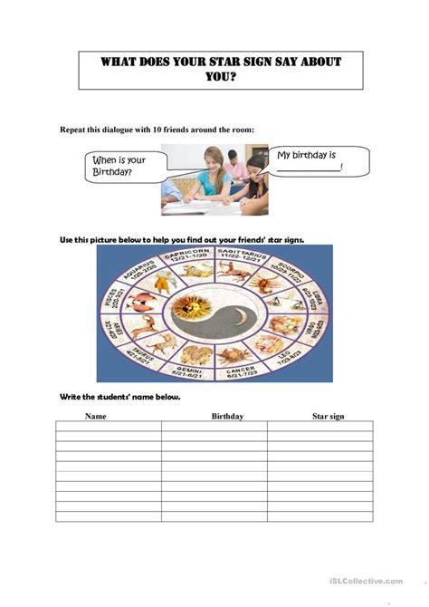 zodiac signs printable worksheets zodiac signs and describing people worksheet free esl