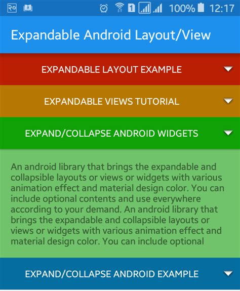 android layout tutorial youtube html collapsible list exle phpsourcecode net