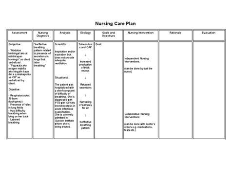 ineffective breathing pattern nurses notes nursing care plan ineffective breathing pattern