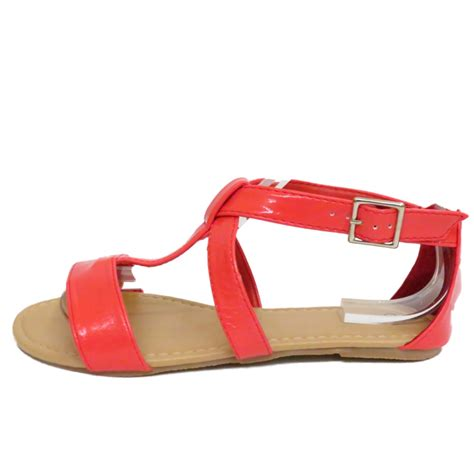 coral flat sandals flat coral gladiator strappy summer sandals flip