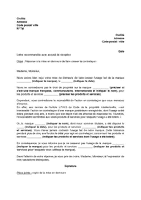 Exemple De Lettre De Reponse De Mise En Demeure Modele Reponse A Une Mise En Demeure Document