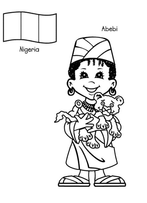 abebi nigerian kid from around the world coloring page