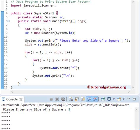 star pattern in java with explanation java program to print square star pattern