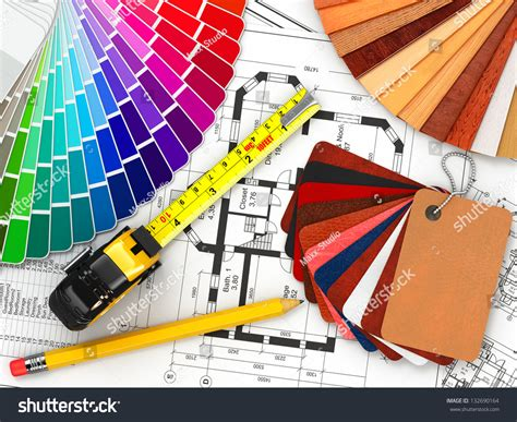 interior design architectural materials measuring tools and blueprints 3d stock photo