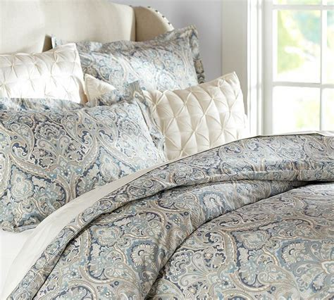 blue paisley bedding pottery barn mackenna paisley duvet cover blue natural