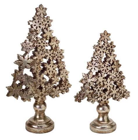 snowflake table top decorations set of 2 antique brass chagne gold snowflake