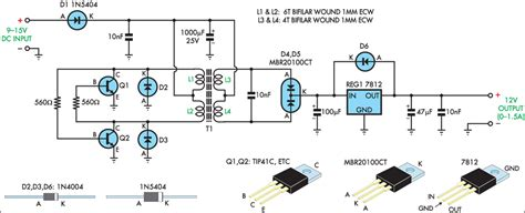 12v regulated inverter supply circuit diagram image 12v