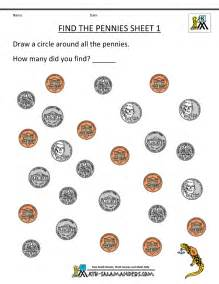 Free printable money worksheets find the pennies 1