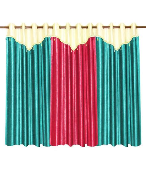 curtain flaps 3 curtains combo with flap sky blue pink 48 x 84 inches