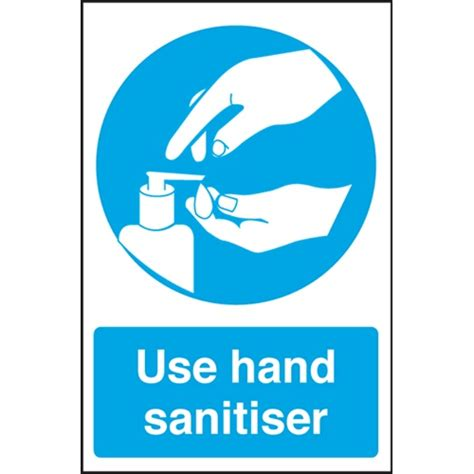 Blue And Silver Bedroom use hand sanitiser self adhesive sign 300 x 200mm blue
