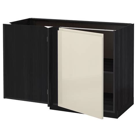 Black Corner Cabinet For Kitchen Metod Corner Base Cabinet With Shelf Black Voxtorp High Gloss Light Beige 128x68 Cm Ikea