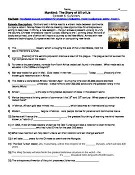 Mankind The Story Of All Of Us Worksheet Answers by Mankind The Story Of All Of Us Episode 6 Survivors